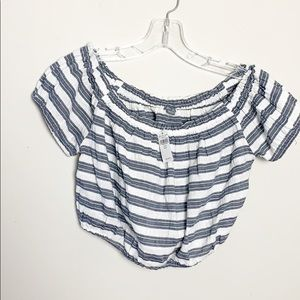 Aerie cream and grey striped cropped top